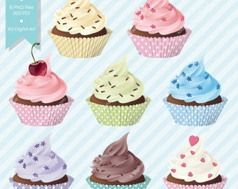 Digital Cupcakes clip art, cupcake clipart for digital scrapbooking, party invitation, stationary