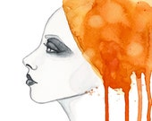 "Watercolor ""Sun girl"" portrait - limited edition illustration print"