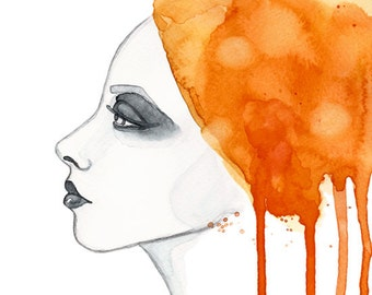 "Watercolor ""Sun girl"" portrait - limited edition illustration print"