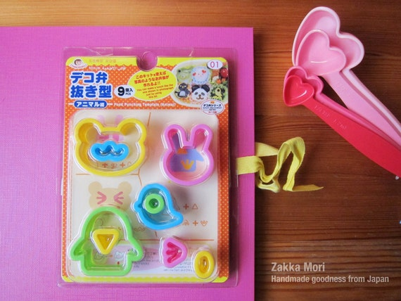 Bento Japan sandwich cutter, sushi mold for lunch box party favor. Bear, rabbit, penguin Kawaii Biscuit, cookie, clay shape tool