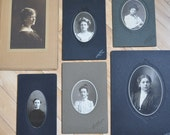 Lady.  Collection of 6 Antique Black and White Photo Portraits of Women.  Unique Wall Art, Home Decor.