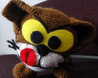 Azrael, a handmade crochet cat doll