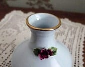 Small bone china blue vase Adderley floral red rose gold rim made in England vintage
