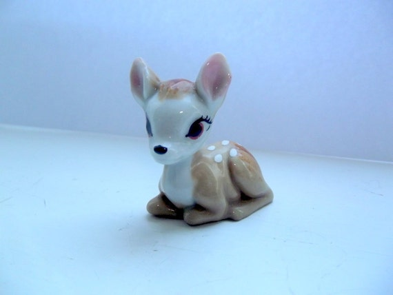 home decor disney figurine Vintage  bambi 1960 Wade porcelain whimsies collectable deer fawn