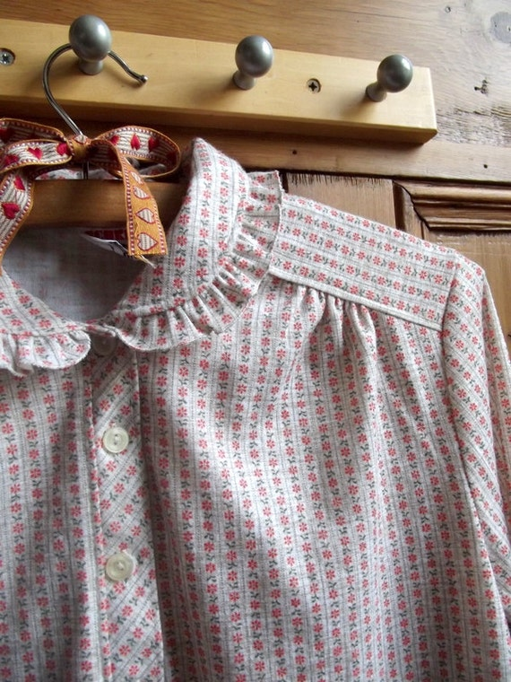 ladies clothing vintage shirt top collar floral striped beige orange green medium UK 14 US 12