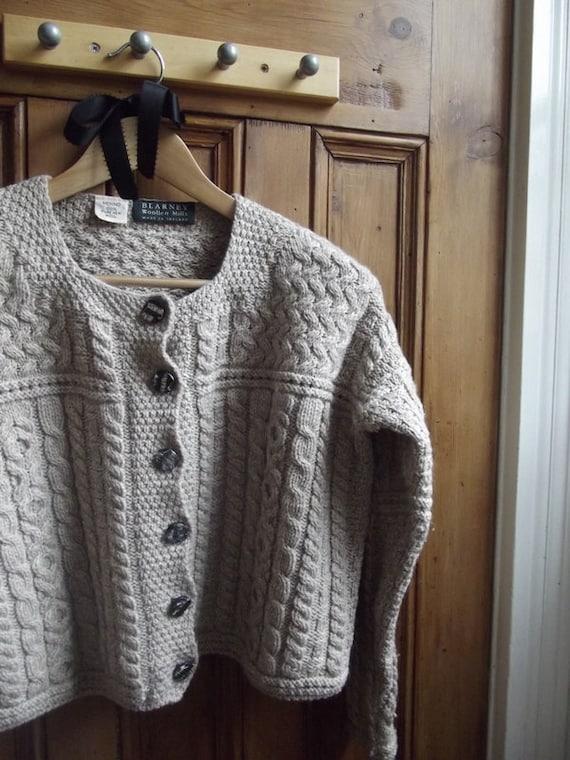 knitwear womans clothing vintage cardigan sweater jumper Irish Aran knitted cable merino