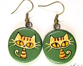 Khaki/ army green wooden earrings with ginger tabby cats
