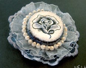 Lacy perse grey blue rose brooch