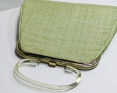vintage purse handbag 1960s lime chartreuse green fabric lucite handle clear A line design - mad men