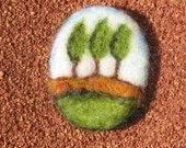 Needle Felted Brooch - Mini Wool Painting - From Israel