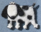 Felted Pin Brooch - Black And White Puppy - By Marina Lubomirsky - Custom Order Only