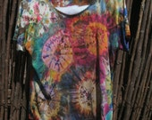 Tie Dye 100% Silk Knit T-Shirt, XL