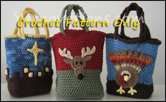 Holiday Gift Bags Turkey for Thanksgiving and Flocked Deer & Bethlehem for Christmas - Crochet Purse Pattern