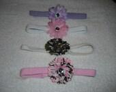 Skinny stretchy headbands w/flowers   On Sale