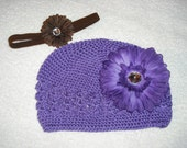 1-4 yrs old Purple Crochet hat w/detachable flower and headband  CLEARANCE