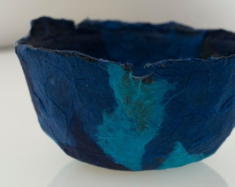 Blue Bowl Handmade Paper Bowl, ocean blue decorative paper papier mache bowl original artwork