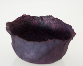 Purple Decorative Bowl Handmade Paper Bowl Purple paper papier mache bowl original art