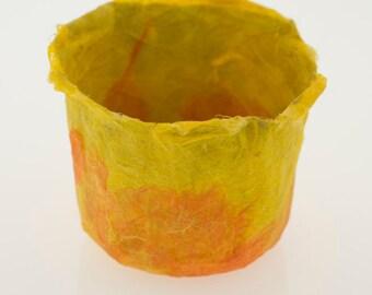 Yellow Orange Bowl Handmade Paper Bowl, orange and yellow sunset paper papier mache decorative bowl original art