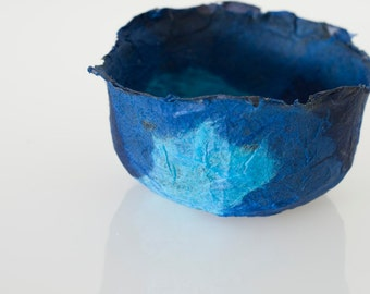Blue Bowl Handmade Paper Bowl Ocean Blue decorative paper papier mache bowl original art