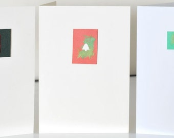CHRISTMAS CARD SET Blank Handmade Xmas Cards set of 3, Christmas Tree, Santa & Santa's Hat