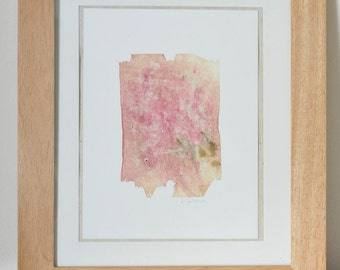 Abstract Paper and Dye Collage, raspberry and brown square with seeds