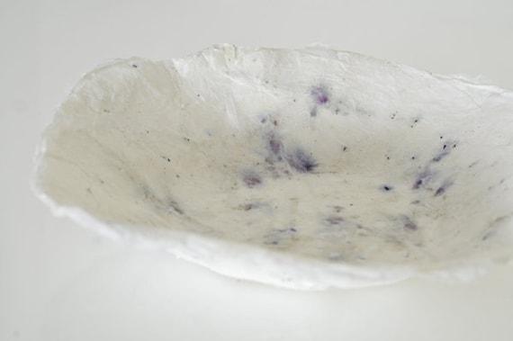 White Purple Bowl Handmade Paper Decorative Bowl white paper papier mache formed bowl with purple seeds original art