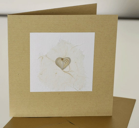 Heart Handmade Greetings Card, with a cream and gold heart, Wedding, engagement, birthday, anniversary, someone special, love you