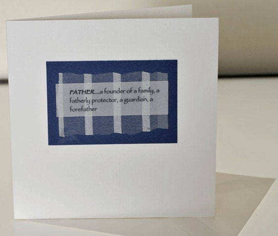 Father Handmade Greeting Card, Fathers Day, birthday, thank you, love you