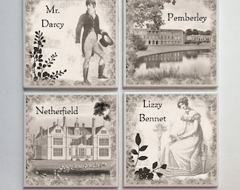 Pride and Prejudice Jane Austen -- Ceramic Tile Designer Coasters -- 4pc. Set -- Sepia Vintage Tones