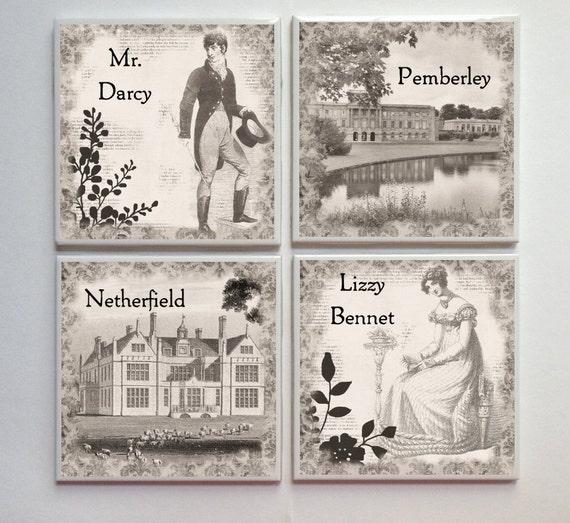 Pride and Prejudice Jane Austen -- Ceramic Tile Designer Coasters -- 4pc. Set -- Sepia Vintage Tones