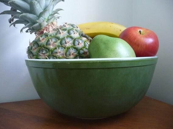 Reserved for Karen: Dark Green Pyrex Mixing Bowl