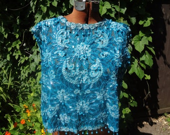 jreduced for Xmas Sale/Turquoise Beaded and Sequinned Top
