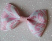 Pink and white Damask Lg. Tux Bow