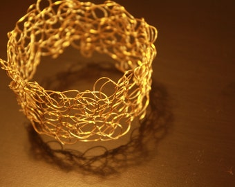 Gold Wire Crocheted Bangle Bracelet