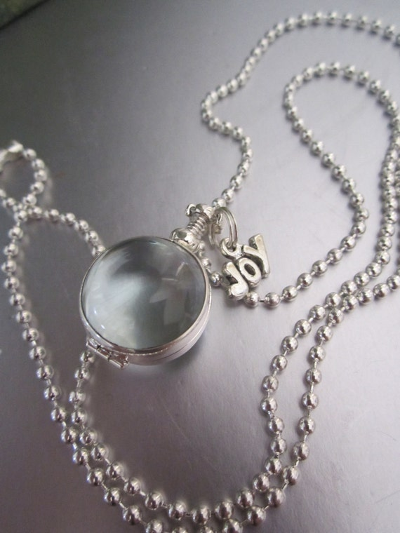 Flower Girl Elegant Sterling Silver Glass Locket - Dainty mini glass double sided locket-classy