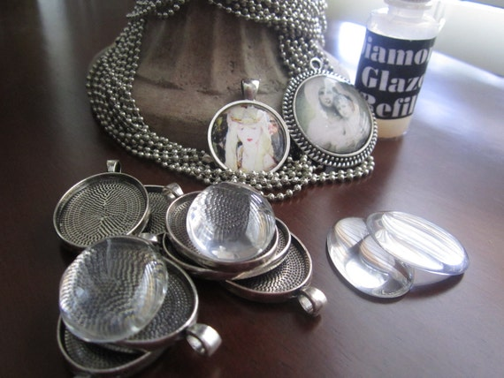 DIY Jewelry Supplies 8 Pendants to Make Photo Pendants Kit Supplies for Antique Silver Victorian Style Oval