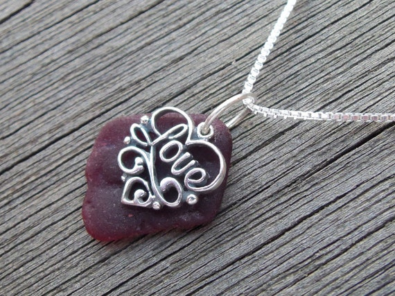 Sea glass necklace,  Rare red sea glass with sterling silver Love charm