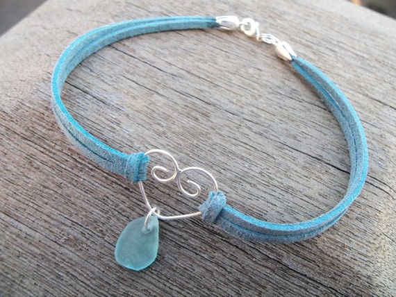 Sea glass jewelry,  Pretty piece of blue sea glass on blue suede anklet with silver heart