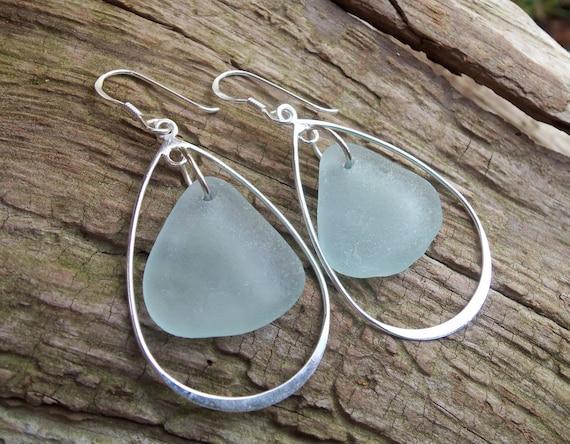 Sea glass jewelry, Pale blue sea glass dangles within sterling silver teardrop earrings