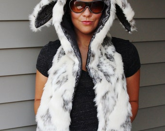 Snow Bunny Flopped Eared Hoodie - Scoodie Scarf with Mittens