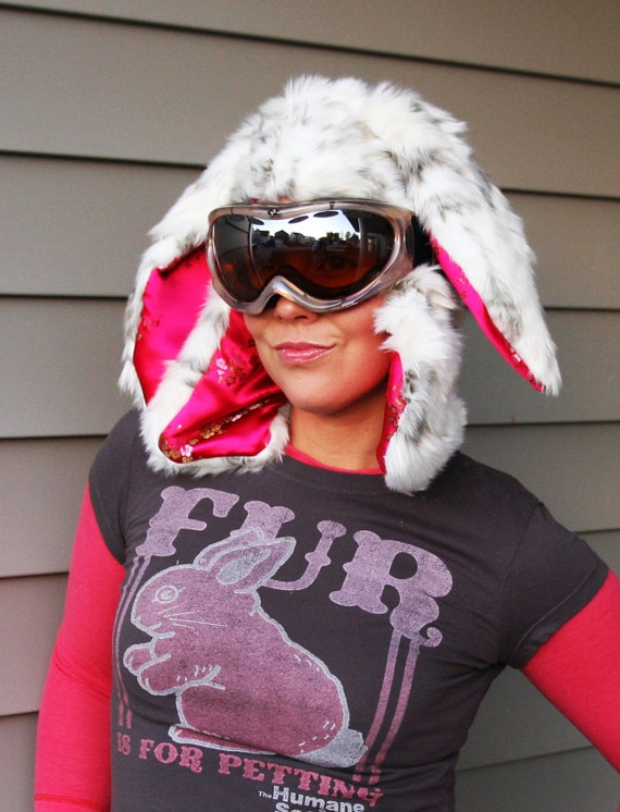 Snow Bunny Flopped Eared Aviator (White Rabbit faux fur with Hot Pink silk lining)