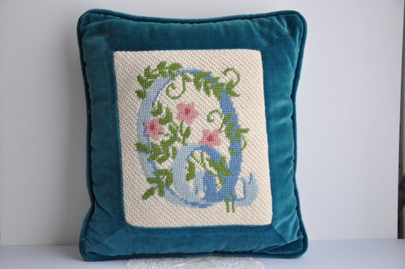 needlepoint monogram pillow