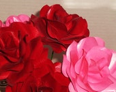 Paper flower roses, one dozen pink and red.