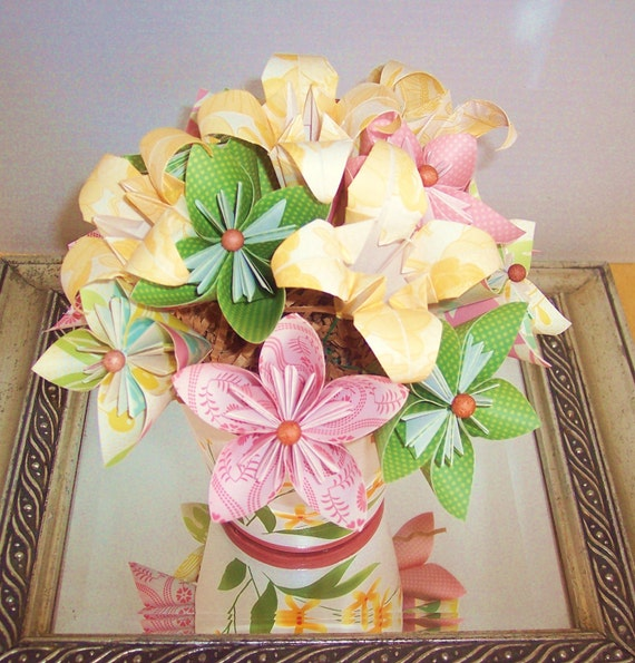 Paper flowers, Origami paper flowers, Gift,  Anniversary, Birthday floral arrangement - reduced