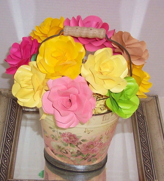 Paper flower bouquet, paper roses, paper anniversary, birthday gift