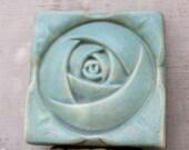 Vintage mint classic Arts & Crafts movement stoneware tile mint rose tile arts and crafts