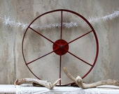 S.A.L.E. 30% off: Vintage antique metal wheel barn red / spokes and wheel / industrial decor / big wheel