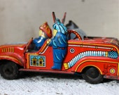 S.A.L.E. 15% off: Vintage 1940s tin litho fire truck , firemen , firefighters , fire helmets , made in Japan , fire engines