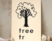 Vintage large flash cards:  Tree,  for wall art , altered art supply , 1950s graphic design