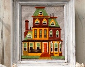 S.A.L.E. 15% off: Vintage needlepoint house orange mustard painted lady , Victorian house , San Francisco